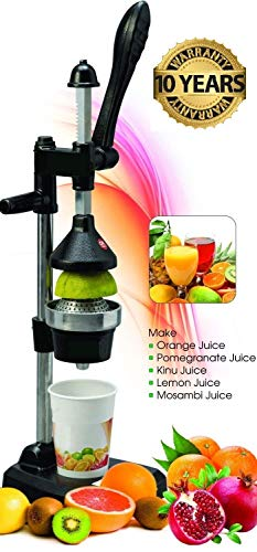 Boss Plastic and Stainless Steel Manual Lever Press Citrus Juicer Extractor Fruit Machine (Black)