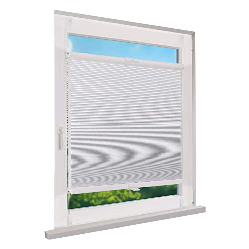 Wabenplissee, Plissee für Fenster, zum Klemmen und ohne Bohren, nachhaltige Funktion, Sichtschutz, Farbe weiß, 40 x 130 cm (BxH)