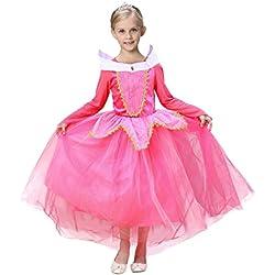 LAND-FOX Ropa para bebés,Princesa de la Belleza de la Muchacha Disfraz de Navidad Disfraces de Halloween (6 Años, Azul) (4/5 años, Rosado)