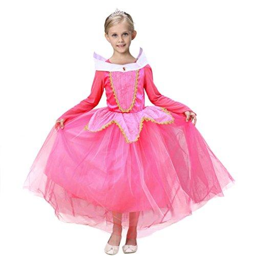 LANDFOX Ropa para Bebés,Princesa de la Belleza de la Muchacha Disfraz de Navidad Disfraces de Halloween (4/5 Años, Rosado)