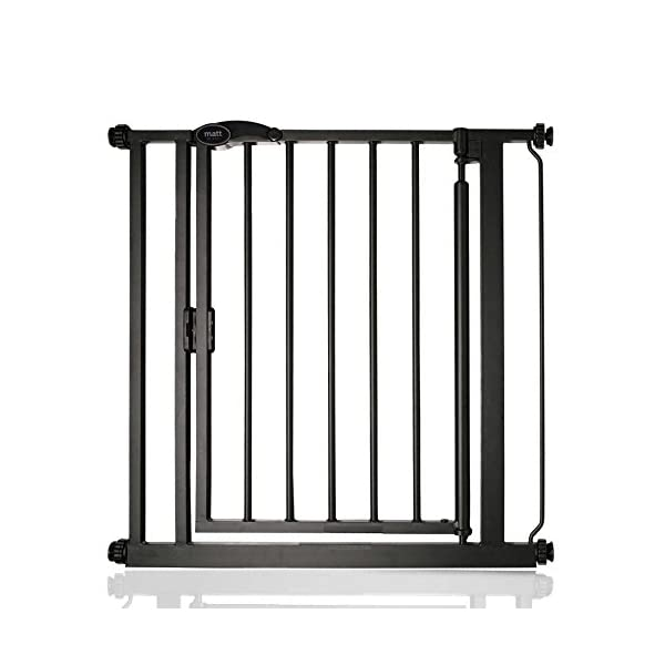 Safetots Auto Close Baby Gate Matt Black Range (75cm - 82cm) Safetots Fits openings from 75cm to 82cm Pressure fitted Stair Gate with Matt Black Finish One-handed operation with auto close function 1