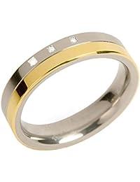 Boccia Damen-Ring teil-goldplattiert Titan 3 Brillanten 0129-04