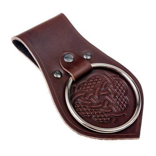 Pera Peris Geprägter Waffenhalter - extra großer Ring im Stil des Mittelalters für LARP-Polsterwaffe oder EIN blankes Schwert mit breiter Klinge Farbe braun -