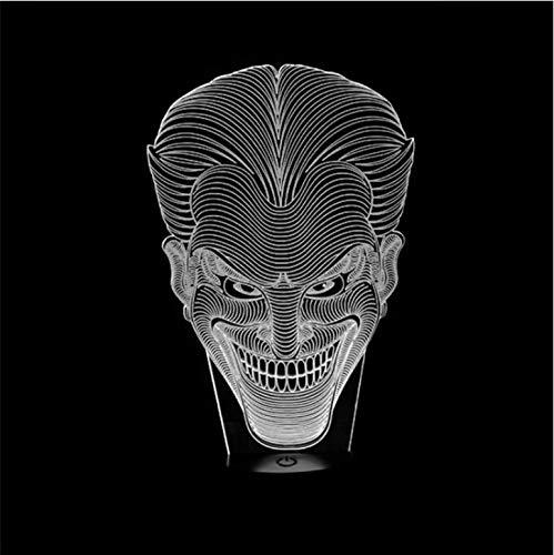 chenk Jack Lächeln Gesicht 3D Lampe Film Charakter Lachen Joker Schreibtischlampe Mit 7 Farben Nachtlicht Halloween Licht ()