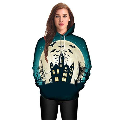 CICIYONER Pullover für Frauen, Halloween Männer Frau Modus 3D Drucken Lange Ärmel Halloween Paare Hoodies Oben Bluse Hemden (3XL, Grün)