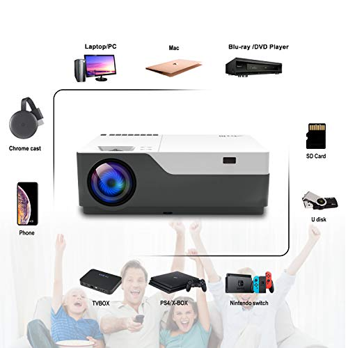 """41aiwSYQl8L. SS500  - Full HD Projector Artlii Native 1080P Projector 300"""" Display 5000:1 Contrast LED Video Projector with Zoom Compatible TV Stick HDMI VGA USB Xbox Laptop iPhone Android"""