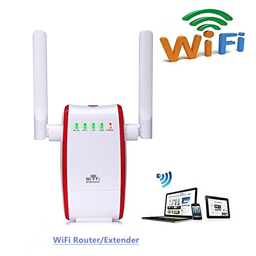 Enrutador inalámbrico,WiFi Router Extensor de red, 300Mbps Wireless Amplificador/Repetidor /WiFi Extensor de Rango Punto de acceso(WPS, 2,4 GHz,puerto 1 WAN + 1 LAN,Universal EU Enchufe)–Rojo