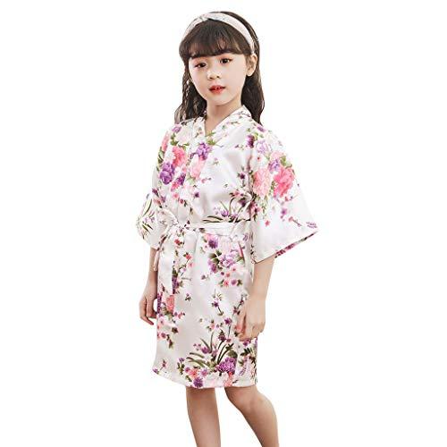 1402 Kinder ÄRmel Blume Sakura Print Krawatte DüNne Strickjacke Bademantel Bademantel Kleinkind Baby Kid MäDchen Floral Seidensatin Kimono Roben Bademantel NachtwäSche Kleidung ()