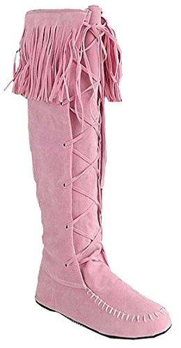 printemps automne bottes frangées bottes femmes grande taille de 34,5 à 41,5 pink