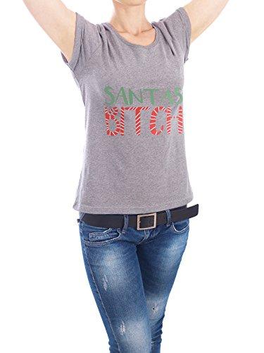 """Design T-Shirt Frauen Earth Positive """"Santas Bitch"""" - stylisches Shirt Weihnachten von artboxONE Edition Grau"""