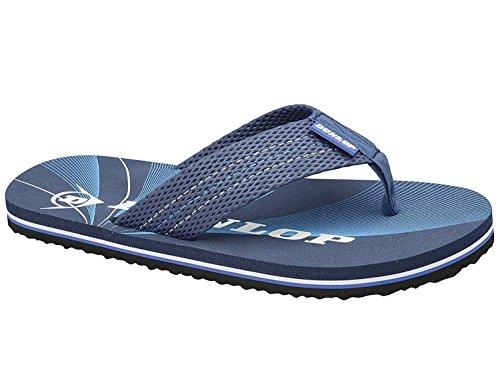 Mens Dunlop Flat Thong Summer Beach Vacation Toe Sandali Blu Scuro