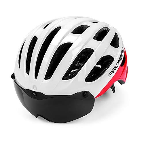 Fahrradhelm, CE-Zertifikat,Fahrradhelm mit Abnehmbarer Schutzbrille Visor Shield für Männer, Herren Damen Erwachsene Fahrrad Zyklus Helm Magnetischer Visier 57-62 cm