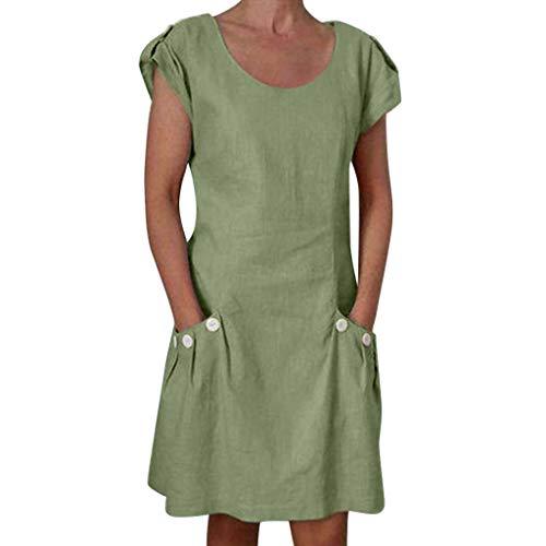 kolila Damen Mini A-Linie Kleid Leinen Kleider Lässig Feste V-Ausschnitt Tasche Kurzarm Täglichen Urlaub Strand Sommerkleid(Grün,2XL) -