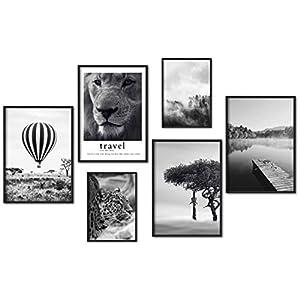myestado – Premium Poster Set Bilder Wohnzimmer Modern Schlafzimmer Bild für Ihre Wand – ohne Rahmen – 4 x DIN A3 & 2 x DIN A4 – ca. 30×40 & 20×30 » Ballon «