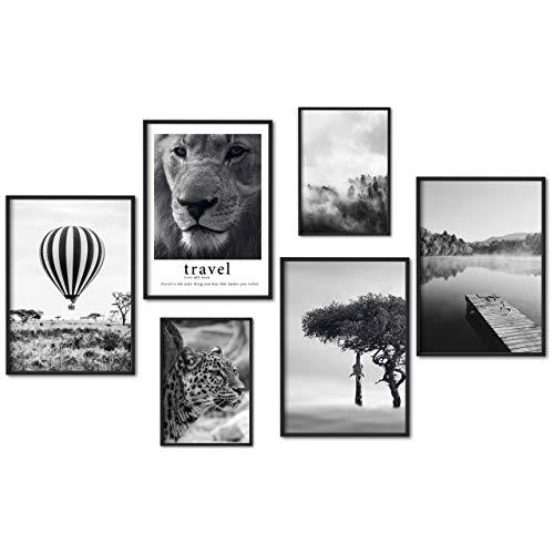 myestado - Premium Poster Set Bilder Wohnzimmer Modern Schlafzimmer Bild für Ihre Wand - ohne Rahmen - 4 x DIN A3 & 2 x DIN A4 - ca. 30x40 & 20x30 » Ballon «