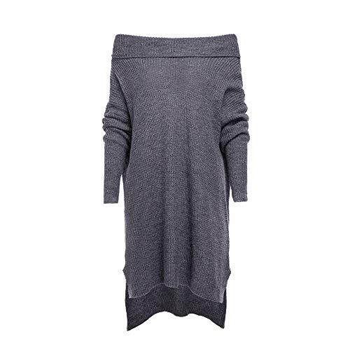 (Linkay Ladies Women Long Sleeve Dresses Print Shouder Roll Neck Jumpe Chunky Knitted Vintage)