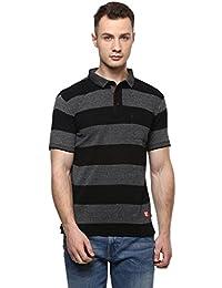 Cayman Black Smart Fit Striped Polo T-shirts