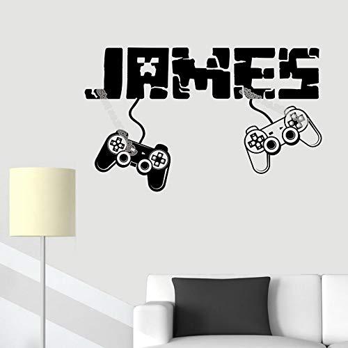 jiushizq Gamer Benutzerdefinierte Name Wandaufkleber Boy Controller Joystick Videospiel Kreative Poster Teen Kinderzimmer Dekor Kunst Tapete E93x56 cm
