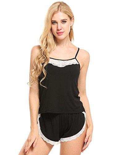 Ekouaer Damen Schlafanzug Zweiteiliger Viskose verstellbare Träger Schlafanzug Cami Set Lace Trimmed Striped Top und Elastische Taille Shorts Pyjamas Nachtwäsche (Taille Cami)