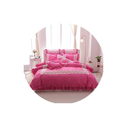 Lovtiful- Lace Bedding Weiße Spitze kräuselt Korea-Art-Bettwäsche-Sets Twin Voll Königin König Double Size 4 / 7Pcs Bed Rock-Satz Bettbezug-Set, 4, Twin-Size-3Pcs