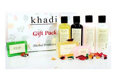 Kräuterhandgemachte Kräuterprodukte Geschenkpackung mit 7 Artikel (Face Wash, Shampoo, Conditioner, Creme, Chandan Haldi Seife, Neem Tulsi Seife und Orange Soap) - von Khadi Organic Natural -