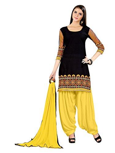 Striking Light Black Embroidered Cotton Salwar Kameez (Free Size