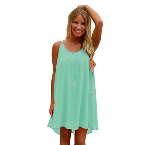 vestidos de mujer,Switchali Mujer Verano sin mangas vestido playa Gasa Vestir mujer espalda hueco ropa vestidos de fiesta para bodas Cortos de dia (Small, Menta verde)