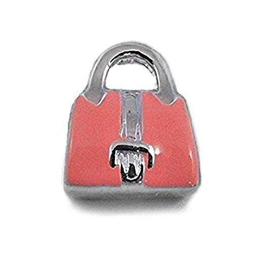 Rosa Emaille Herz Zirkonia (CZ) Set Handtasche Sterling Silber Charm Bead–Passt Für Europäische Charm-Armbänder (Handtaschen Designer-handtasche Handtaschen Perlen)