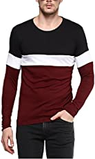 Urbano Fashion Men's Black, White, Maroon Round Neck Full Sleeve T-Shirt