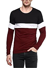 Urbano Fashion Men's Black, White, Maroon Round Neck Full Sleeve T-Shirt