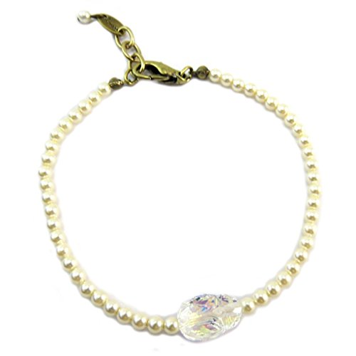 Lily-Crystal P6673 - Handgemachtes armband 'Tsarine' elfenbein weiß golden boreal (skarabäus)- 3 mm, 11x8 mm. - Lily, Die Elf-prinzessin