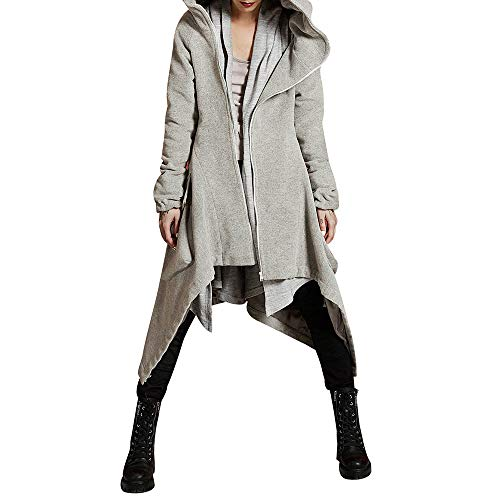 iHENGH Damen Herbst Winter Bequem Mantel Lässig Mode Jacke Frauen Womens Winter Casual Hoodie Zipper Asymmetrische solide Gesteppte Mantel ()