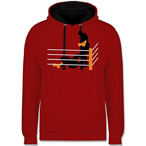 Kampfsport - Boxer am Boden K.O. geschlagen - Kontrast Hoodie Rot/Schwarz