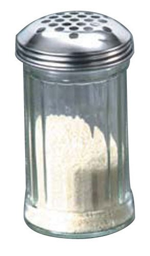 American Metalcraft (GLA319) 12 oz Glass Cheese Shaker w/Extra Large Holes Lid Metalcraft