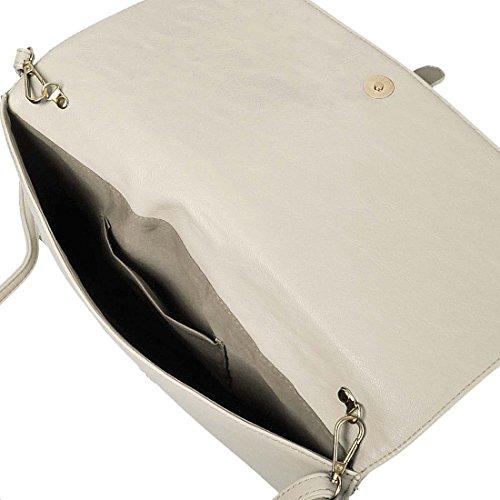 BMC decorativa taglio fuori in finta pelle di moda busta frizione Bianco (Creamy Beige)