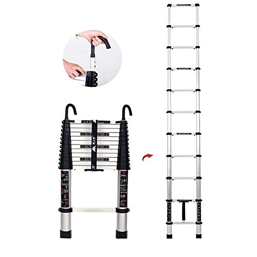 Schiebeleitern Teleskopleitern Aluminium Teleskopleiter Mit Abnehmbaren Haken, Mehrzweck Klappbare for Industriehaushalt Täglich, 330lbs Kapazität Leitern (Size : 4.9M/16ft)