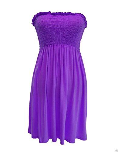 trendy-clothings robe tube Bustier froncé haut bandeau Mini robe d'été plus Taille Violet