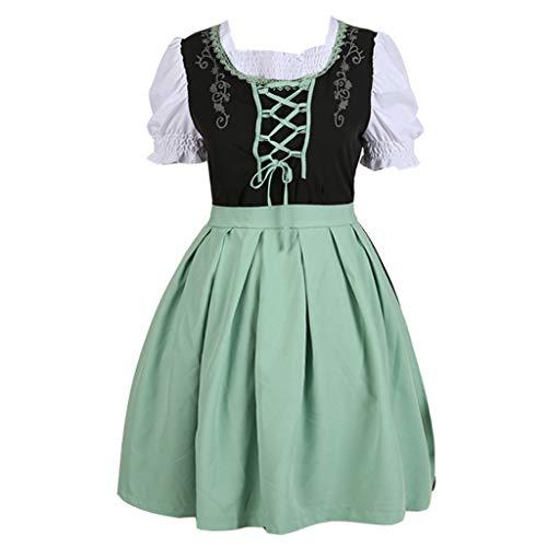 Yaohxu Oktoberfest Kleider und Schürze,Mode Anime mit einem Mädchen Kostüm Cute Cosplay Rollenspiel Kleid,Kostüme für Erwachsene,Grün,XXXXXL