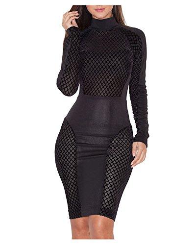 Whoinshop Damen Schwarze Langarm Stretch Crepe Bodycon Kleid PartyKleid Festkleid mit halbtransparentem (S, Schwarz) (Crêpe-kleid)