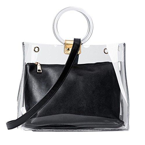 Transparente Wilde Handtaschen Umhängetasche Handtasche Hardware Haken Black