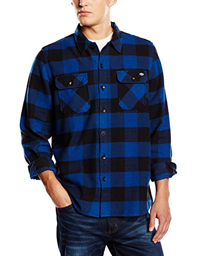Dickies Herren Regular Fit Freizeit Hemd Sacramento, Gr. Large, Blau (Blue BU) (Flanell Hemd Karo Langarm)
