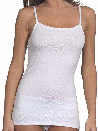 Lady bella lingerie c3084 - confezione 2 pezzi canottiera donna cotone intimo a spalla stretta, canotta in morbido cotone elasticizzato con spalline sottili – (bianco, medium - taglia 46)
