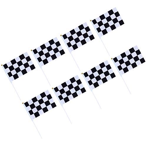 rierte Rennflaggen mit Kunststoffstäbchen schwarz weiß Rennflagge für Rennsport ()