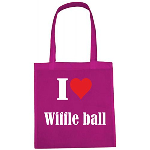 Tasche I Love Wiffle Ball Größe 38x42 Farbe Pink Druck Weiss