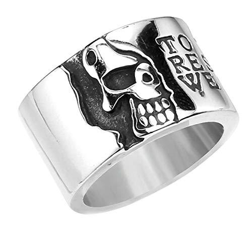 SonMo Ringe Herren Edelstahl Schädel Totenkopfrunden Edelstahlring Unisex Ring Krone Männer Silber Ringe Herren Gothic Größe 60 (19.1)