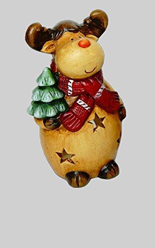 KLP Elch Windlicht Rentier Deko Tier Figur Weihnachts Hirsch Skulptur Teelichthalter -