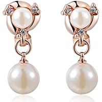 SaySure - Crystal Rose Gold Plated Double pearls Earring (4 Double Wall Tip)