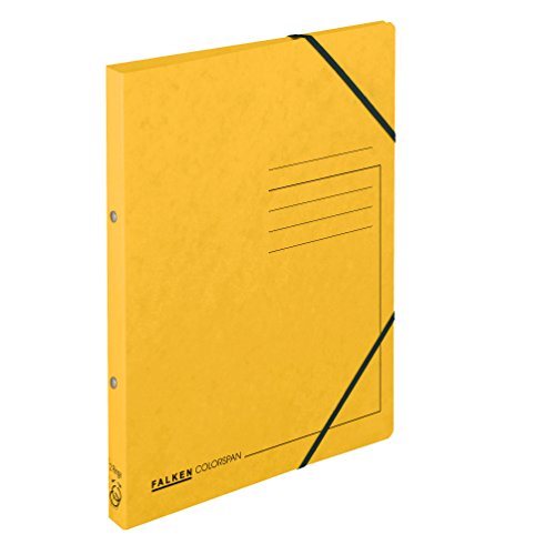 Falken Ringhefter aus extra starkem Colorspan-Karton 2 Ring-Mechanik DIN A4 Füllhöhe 14 mm gelb Ring-mappe Ringbuch Hefter ideal für Büro und Schule