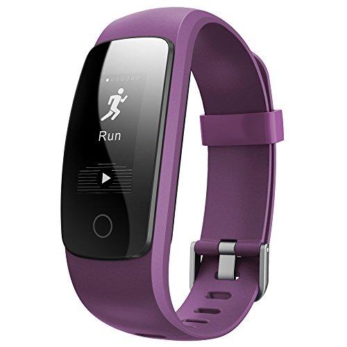 Fitness Armband,Juboury Fitness Tracker mit Pulsmesser Aktivitätstracker Herzfrequenz,Schrittzähler,SchlafMonitor,KalorienTracker,Stoppuhr IP67 Wasserdicht FitnessUhr fitness Armbänder for Android/iOS Phones (Violett)