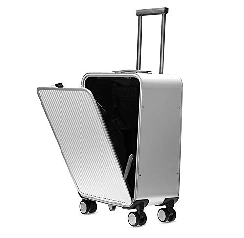 TINGTING Translite Kabinenkoffer Trolley aus Aluminium-Magnesium-Legierung Hardside Luggage Spinner 20 Zoll Handgepäck-Koffer Koffer Hardside Hard Shell Spinner Trolley 4-Rad-Koffer TSA,Silver